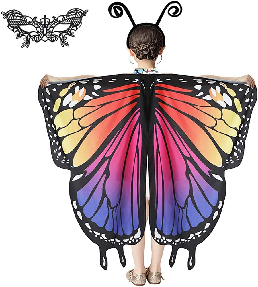 Heay Girls Butterfly Wings Costume Kids Fairy Wing for Birthday Party with Mask Headband