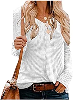 Howely Women's Knit Long Sleeve V Neck Solid Colored Tunic Top Shirts