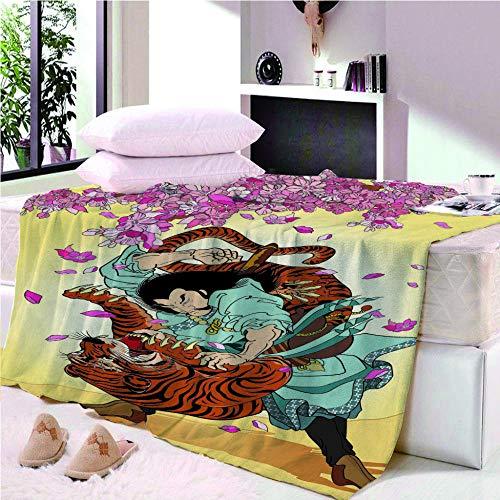 YASHASHII- Manta de Franela Tamaño Manta de Lana Estampata 3D Wu Song Tocando Tiger-Flower Manta de Lana para sofá y Cama de 150X200 cm