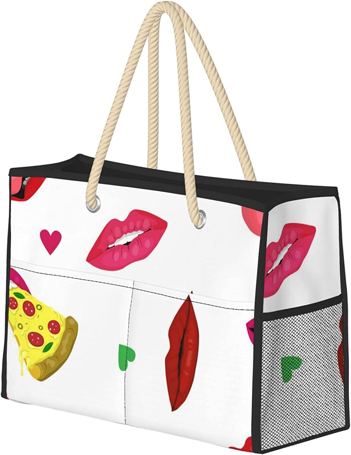 Attractive Female Mouth Women Store Beach Utility Ranking TOP6 Travel Tote Bag