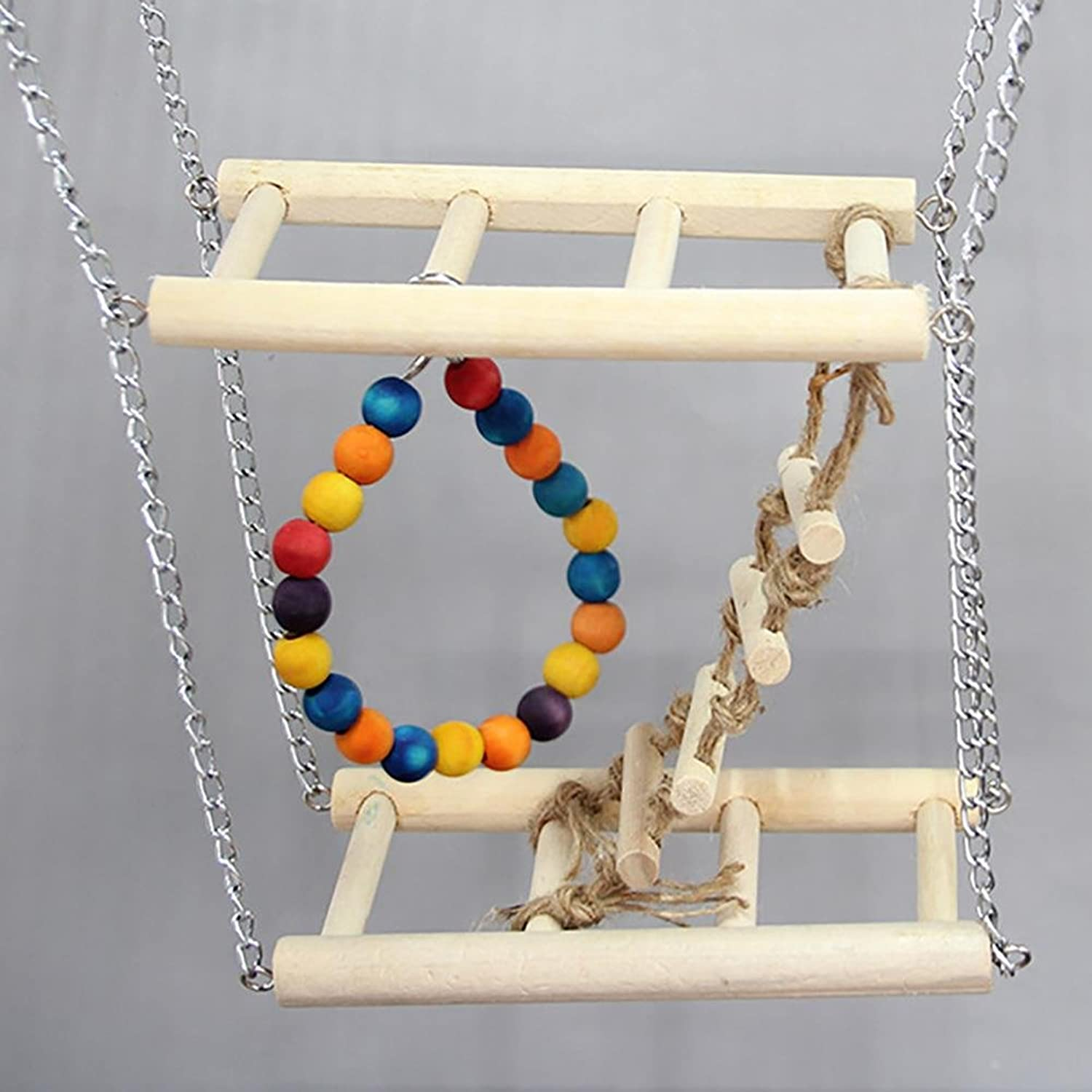 Myyxt Bird Ladder Parred Toys Wooden Ladder And Yoke Swing Stand Up The Stairs
