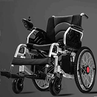 Szeao Safe Lithium Battery Electric Wheelchair, Foldable and Lightweight, 360° Joystick All Terrain Folding Wheelchair Electric Dual Motor Power Chair for All Ages (Black)