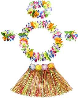 40cm multicolor grass skirt with flowers bracelets headband necklace Hula set