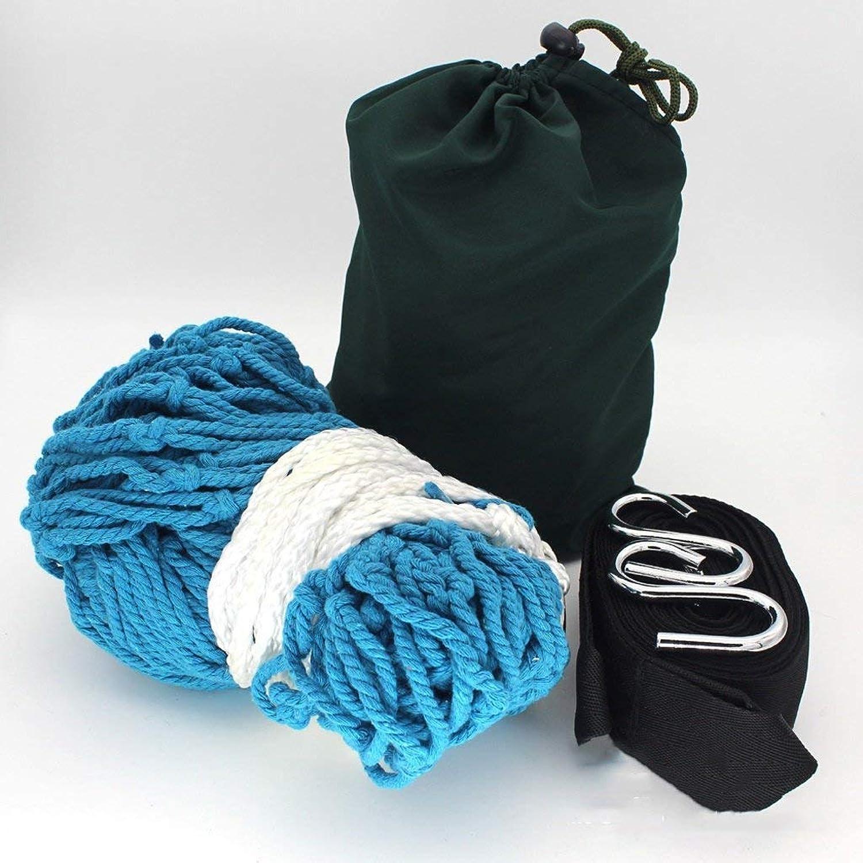 Coarse Cotton Rope Indoor Outdoor Mesh Hammock Net Pocket Swing 200  80cm (color   bluee, Size   B)