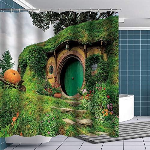 Fuortia Hobbit Shower Curtain Fantasy Rural Green Hobbit Living Cabin Fabric Bathroom Curtains product image
