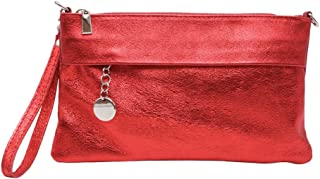 JAENIS Nichole - Flapover Crossbody Bags for Women, Clutch Purses and Handbags w Shoulder Chain Strap Genuine Italian Leather - Victoire