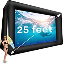 25' Huge Inflatable Movie Screen Outdoor Incl Blower - Seamless Front and Rear Projection - Portable Blow Up Projector Screen for Churches, Grand Parties, Backyard Pool Fun(25 feet)