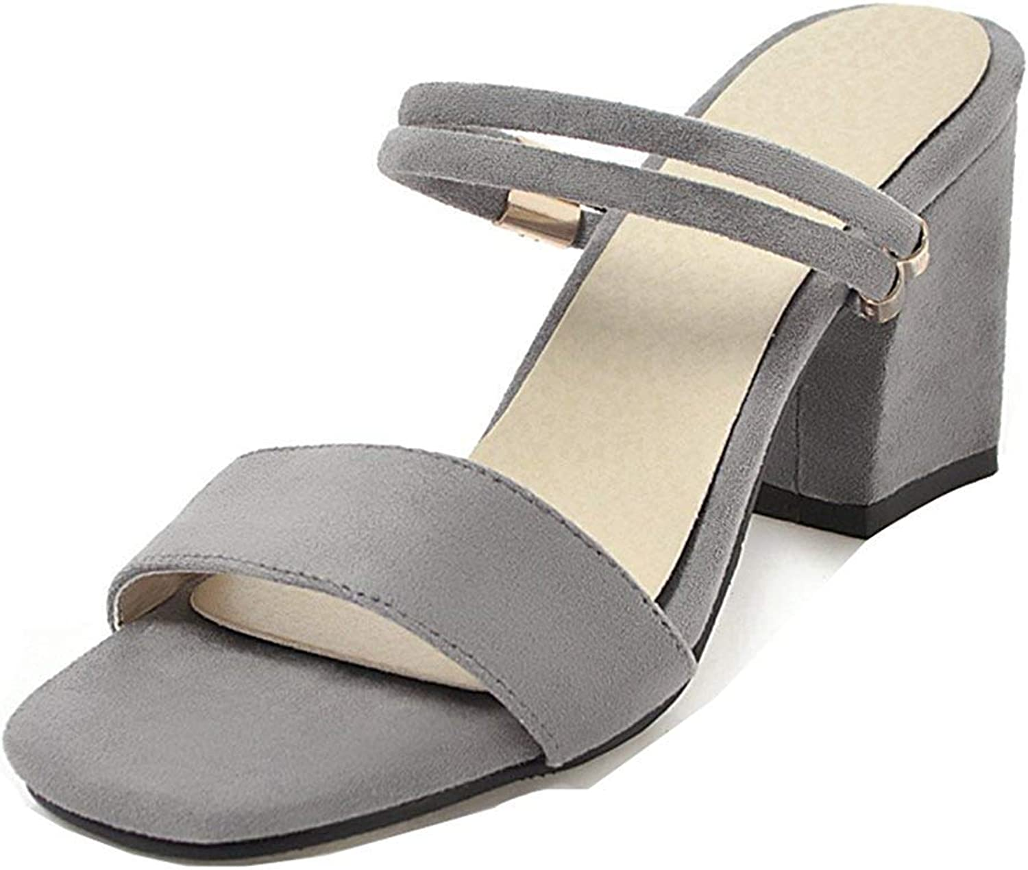 Unm Women's Stacked Slide Sandals - High Heel Open Toe Faux Suede - Elegant Slip on Ankle Strap