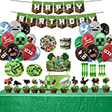 Pixel Miner Crafting Style Decorations for Mining Themed or Crafting Style Party Supplies-25PCS Cake Topper Cupcake Toppers, 1 Pixel Banner,20 Plates,10 Knives,10 Forks,10 Spoons, 1 Tablecloth, 18 Pixel Balloons, 8 Pixel Bracelet,49 Pixel Stickers
