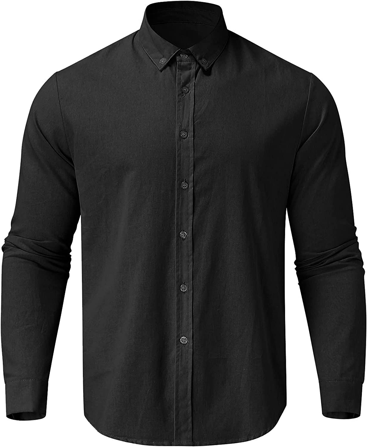 Sharemen Men's Solid Color Casual Button Down Long Sleeve Business Dress Shirt Turn-Down Collar Blouse Tops (Black, L3)