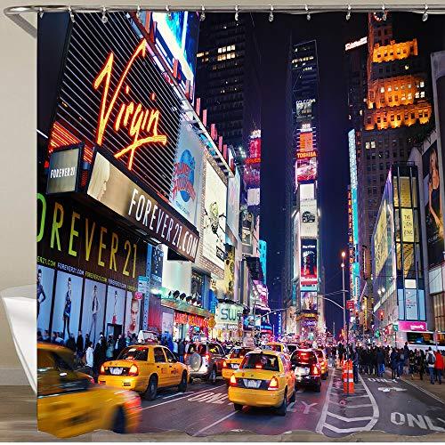 KOSALAER Duschvorhang,New Yorker Times Times Broadway-Theater & animierte LED-Schilder New York City USA,Vorhang Waschbar Langhaltig Hochwertig Bad Vorhang Wasserdichtes Design,mit Haken 180x180cm