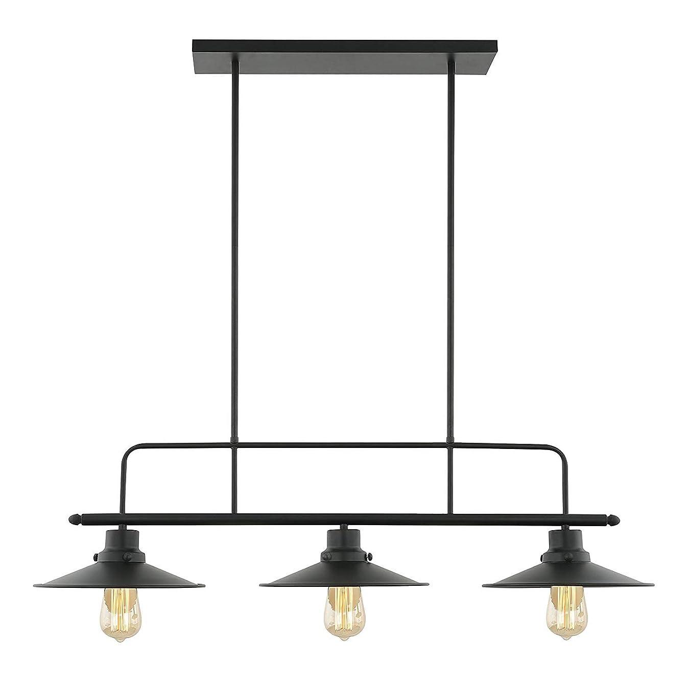 Light Society Margaux 3-Light Kitchen Island Pendant, Matte Black, Vintage Modern Industrial Chandelier (LS-C114)