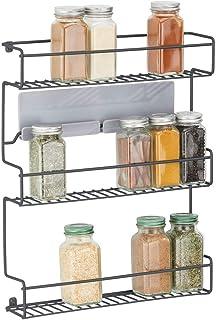 mDesign étagère de cuisine à 3 niveaux – rangement de cuisine en métal autocollant – idéal comme range épices et pour orga...