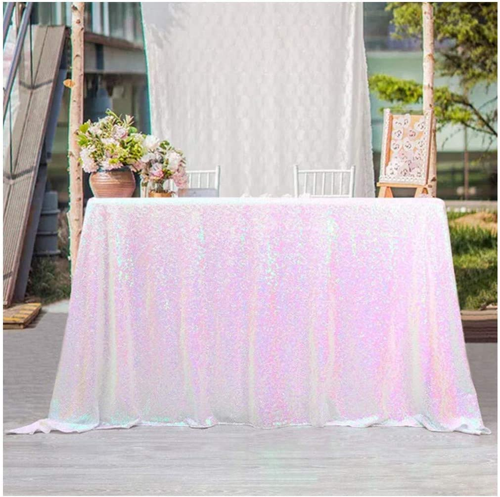 Sequin Tablecloths 50x80 Inches White Iridescent Sparkle Table Cloth for Baby Shower Wedding Birthday Party Dinner Buffet Table Decor