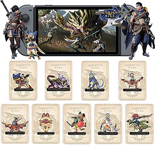 9PCS para Monster Hunter Rise NFC Amiibo Mini Card, Incluyen: Palamute, Palico, Magnamalo, para Switch/Switch Lite/New 3DS / Mando Nintendo Switch