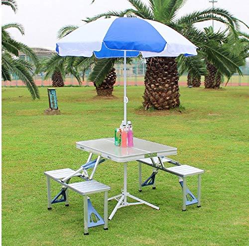 ZOUJUN Silla Mesa Plegable Camping al Aire Libre de aleación de Aluminio Mesa de Picnic Impermeable Ultraligera Duradero Mesa Plegable Mesa (1 Mesa y 4 sillas con Parasol 1) (Color : Silver)