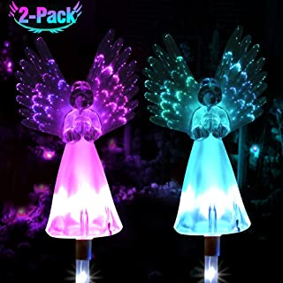 GoLine Solar Garden Stake Lights, Solar Angel for Cemetery Grave Yard Patio Decoration,Solar Angel Light Outdoor,Memorial Gifts Remembrance Gifts,Optic Fiber Wings,2 Pack.