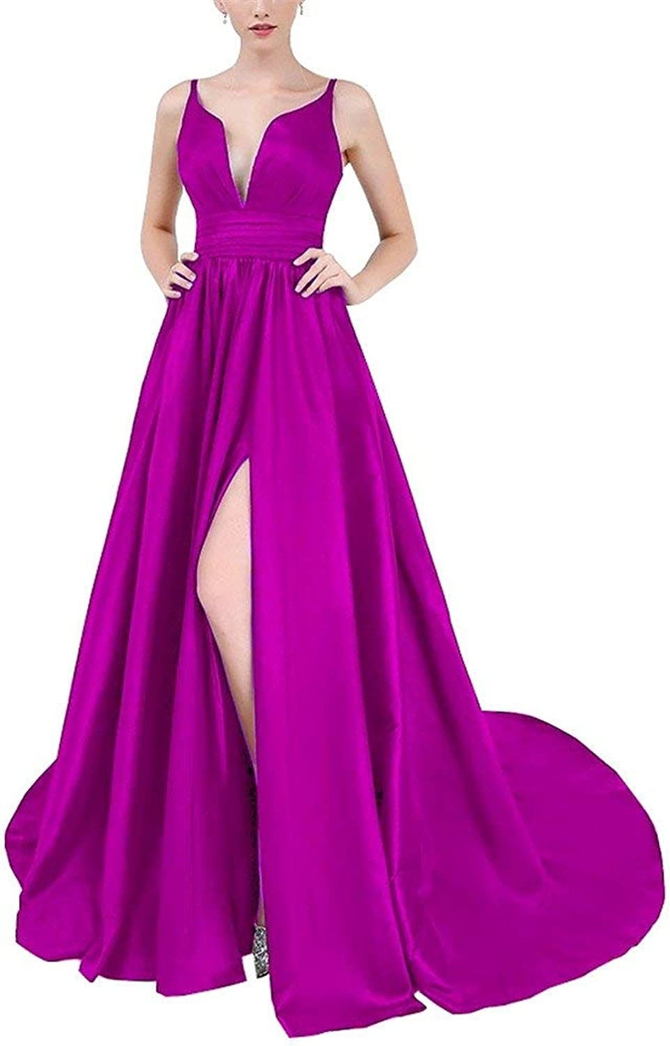 JQLD Women's Satin Double V Neck Evening Dresses 2018 Sexy High Split Prom Gown Formal Long