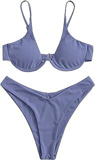 Verdusa Women's 2 Piece Triangle Bikini High Cut Bathing Suit Swimsuit