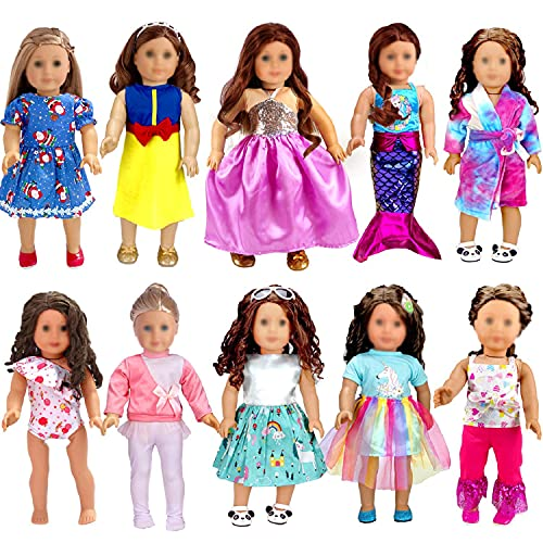 WONDOLL 18-inch Doll Clothes and Accessories - 10 Sets Compatible with Our-Generation-Doll-Clothes, My-Life-Dolls Outfits Christmas Birthday Gift for Little Girls