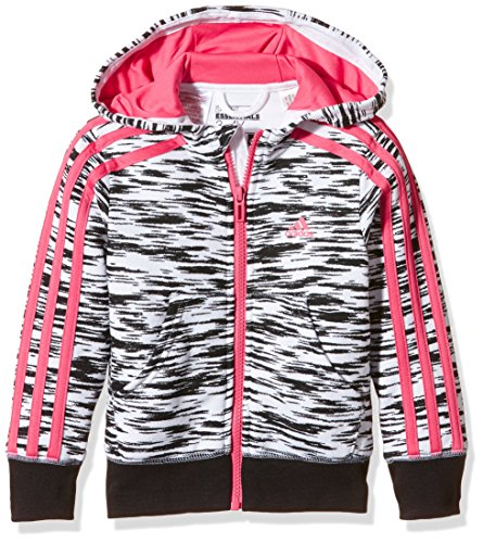 adidas YG ESS 3S FZ HD - Chaqueta para Mujer, Color Blanco/Negro/Rosa, Talla 128