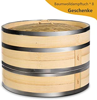 KYONANO Vaporera de bambú, Cesta de bambú - 24cm, para arroz, Dim Sum, Verduras, Pescado y Carne, Recipiente Tradicional para la cocción al Vapor, 2 Pisos y 1 Tapa