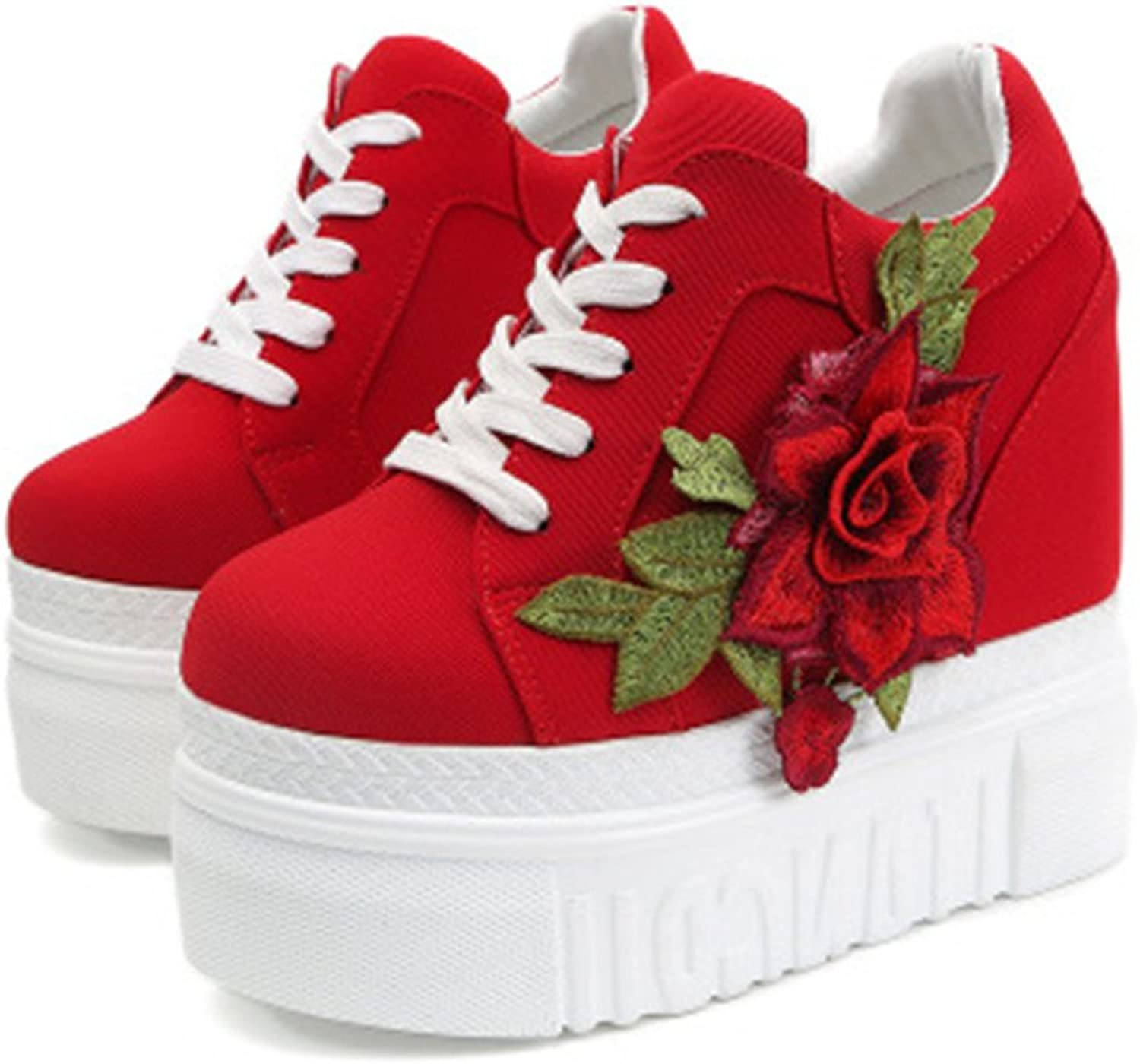 Edv0d2v266 Women's Sneaker High-Heeled Fashion Canvas shoes High Pump Lace UP Wedges Casual Canvas shoes