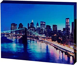 LED Lighted Canvas Printing City Night Scene Wall Decor Framed Canvas Wall Art for Home Decoration Size 12x16 inch
