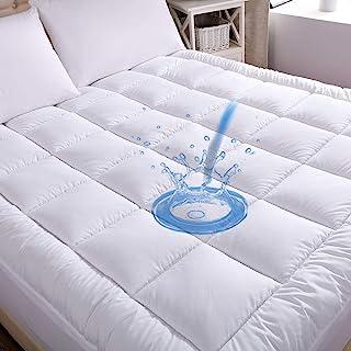 WhatsBedding Waterproof Mattress Pad Queen Size Cotton Top Down Alternative Filling Pillowtop Mattress Topper Cover-Fitted Quilted (Mattress Pad Queen)