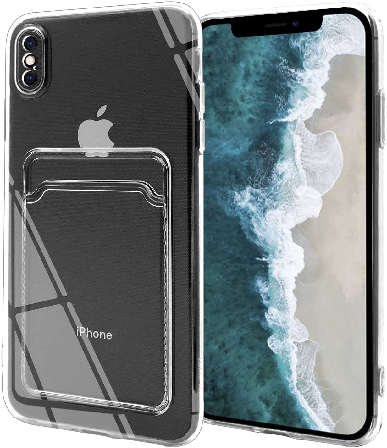 Fsoole Clear Card Case Compatible with iPhone Xs Max 6.5 Inch, Transparent Credit Card Holder Sleeve Slim Fit Ultra Thin Shockproof Cover