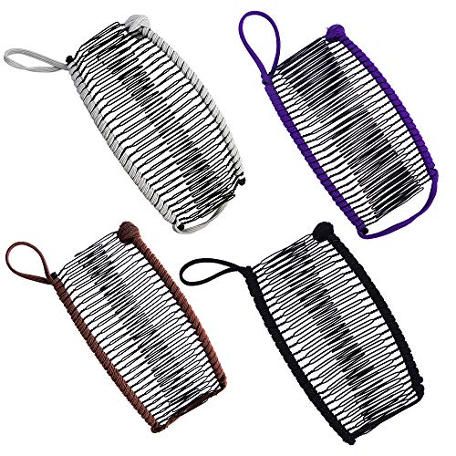4pcs Banana Clips Large Size Stretch Banana Hair Clip for Thick Hair Vintage Clincher Comb Hair Clamp Ponytail Holder Grip Banana Clip Comb Tool for Women Curly Hair (Black, Brown,Purple, Grey)