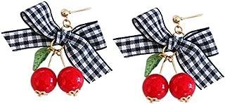 18K Gold Plated Black White lattice Bowknot Fruit Green Leaf Red Cherry Charm Women Stud Earring