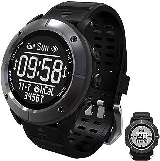 GXFNS Reloj Deportivo GPS IP68 Reloj Inteligente A Prueba De Agua Reloj De Seguimiento De Fitness con Podómetro Bluetooth Barómetro Brújula para Exploradores Al Aire Libre,Gris