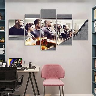 SINGLEAART Impressions sur Toile,5 Tableau Peinture,Décoration Maison Moderne,Modulaire Panneaux Motif Tableau,Furieux, Vo...