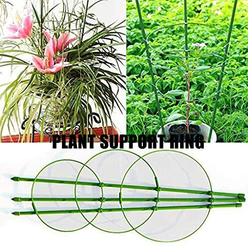 Plant Support Ring Adjustable Plant Trellises Garden Basket Plant Fixed Climbing (Green)