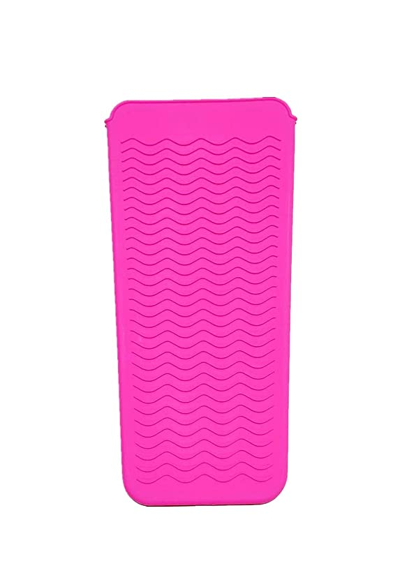 塩バッグスラダムFChome耐熱シリコンマットポーチ、ストレートヘアアイロン、ヘアアイロン、フラットアイアンおよびトラベルマット、ホットスタイリングツール(ピンク)