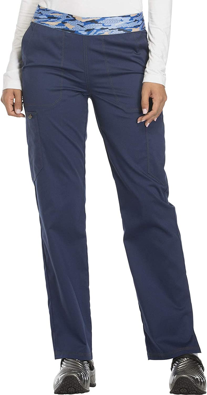 Dickies Essence Women Scrubs Pant Mid New product!! Rise Tapered Soldering Leg D Pull-on