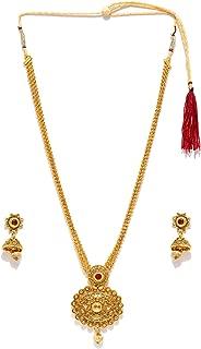 Zaveri Pearls Long Designer Necklace Set for Women (Golden) (ZPFK4414)