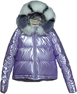 Macondoo Women's Casual Cotton-Padded Metallic Hoodie Outwear Puffer Down Jacket