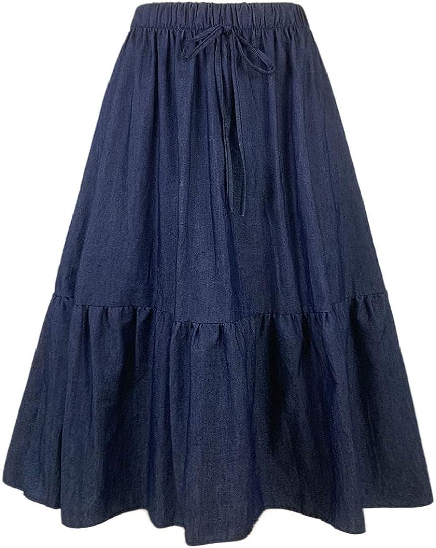 WANG SHUN HONG Women's Mid-Length Denim Skirt with Pleated Stretch Waist Drawstring