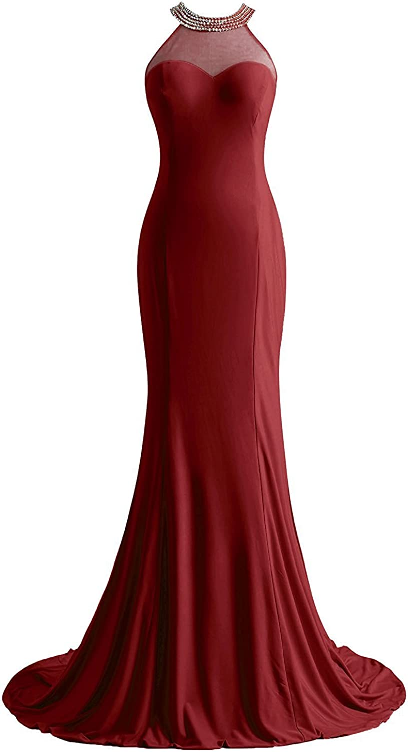 DianSheng Women's Prom Dresses Spandex Scoop Mermaid Beaded Evening Dress CK23
