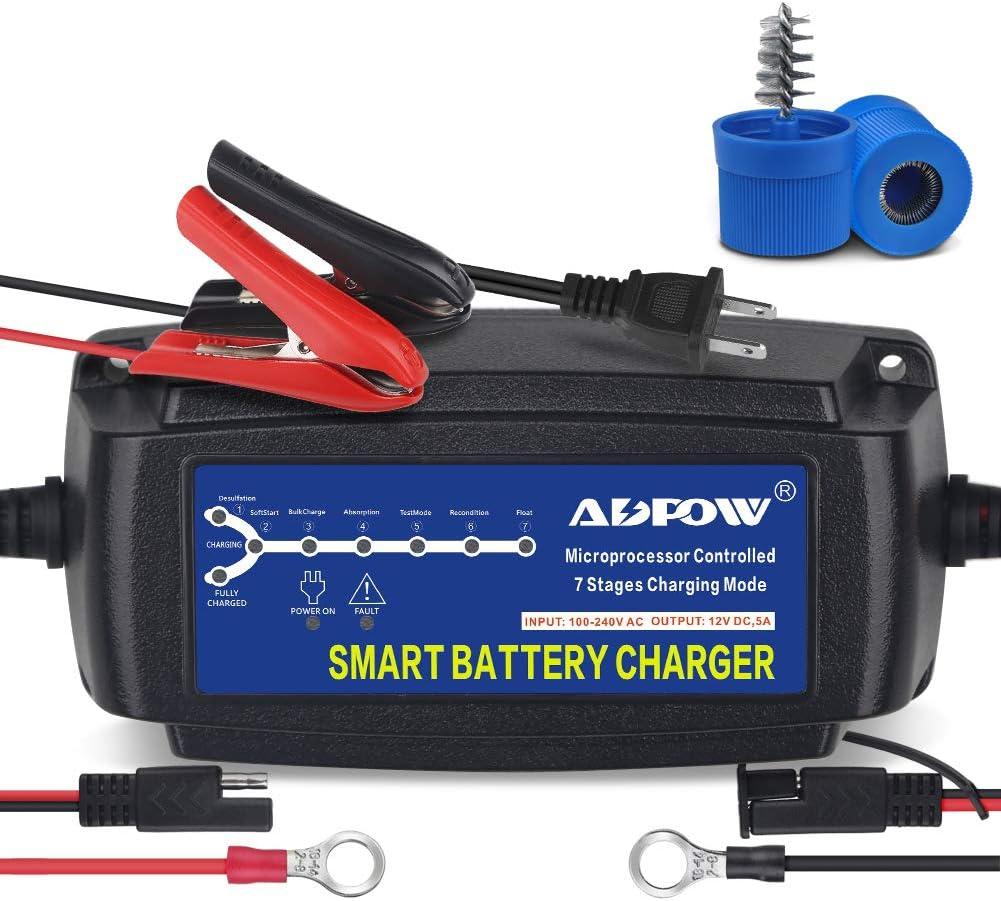 5A 12V Smart Waterproof Car Battery Charger/&Desulfator For Lead Acid AGM//GEL//WET
