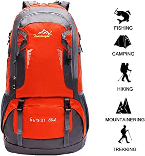 60 L Waterproof Lightweight Climbing Fishing Backpack Hiking Daypack,Internal Frame Backpack,Handy Foldable Camping Outdoor Backpack Bag60 L Waterproof Lightweight Climbing Fishing Backpack Hiking Daypack,Handy Foldable Camping Outdoor Backpack Bag(Orange)