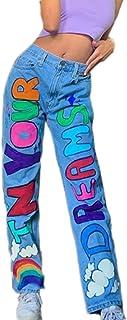 Pantalones Vaqueros de Hip Hop de Calle para Mujer, Letras de Moda, Pantalones Vaqueros con Estampado de Arco Iris