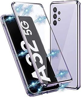 متوافق مع سامسونج جالاكسي A32 5G حافظة امتصاص الإطار المعدني المغناطيسي غطاء شفاف أمامي وخلفي من الزجاج المقوى رفيع للغاية...