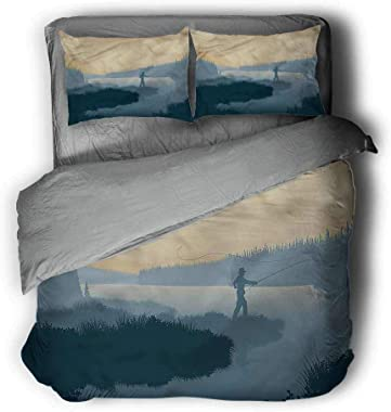 "Miles Ralph Fishing Large Duvet Cover Fisherman Woods Silhouette Bedding Duvet Cover 68""x86"" inch"
