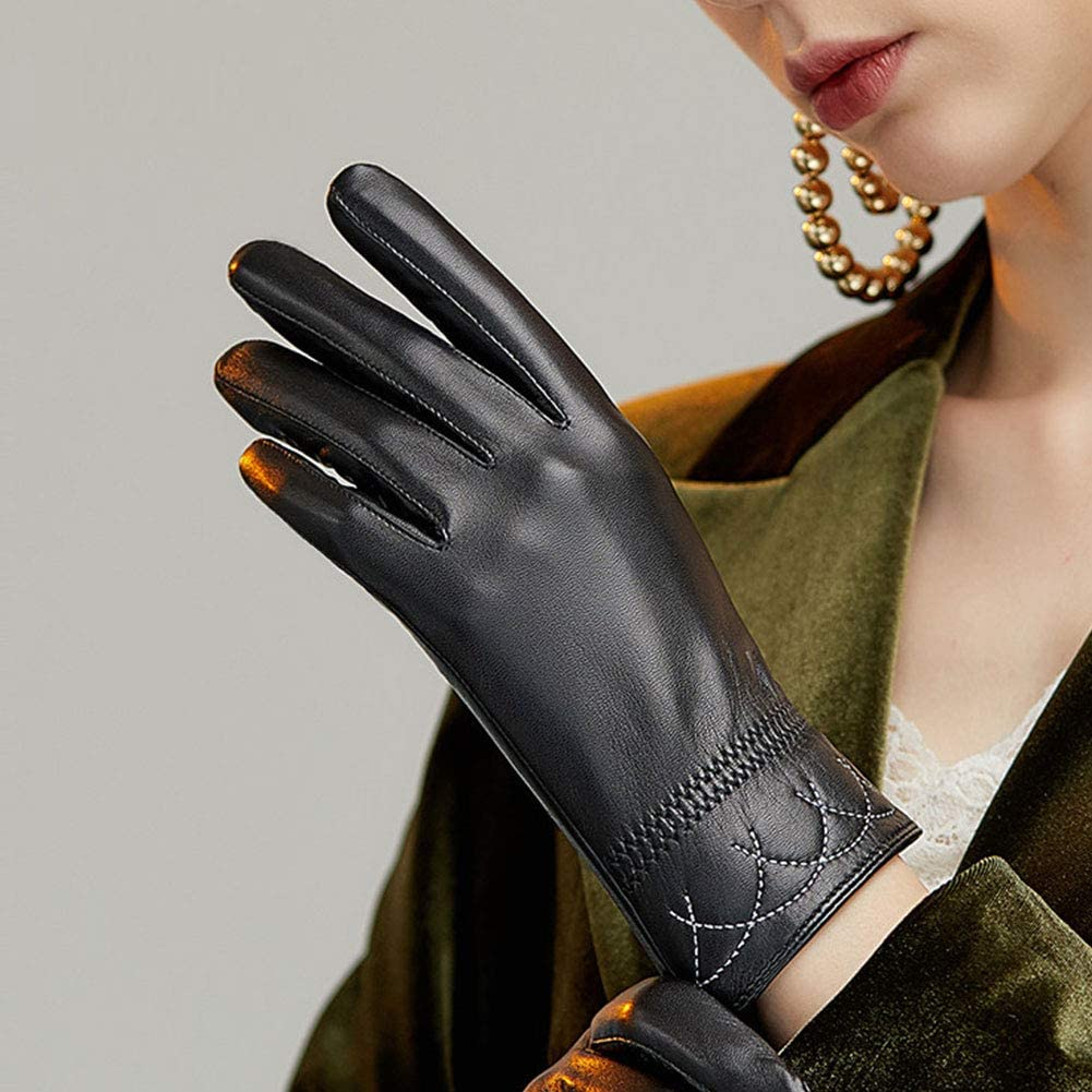 Womens Leather Gloves, Winter Warm Touchscreen Texting Driving Lambskin Genuine Leather Gloves,Black-XL