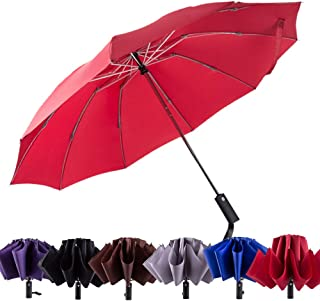 PFFY Compact Inverted Umbrella Windproof Collapsible 10 Ribs Auto Open & Close Folding Small Travel Reverse Umbrella Burgundy
