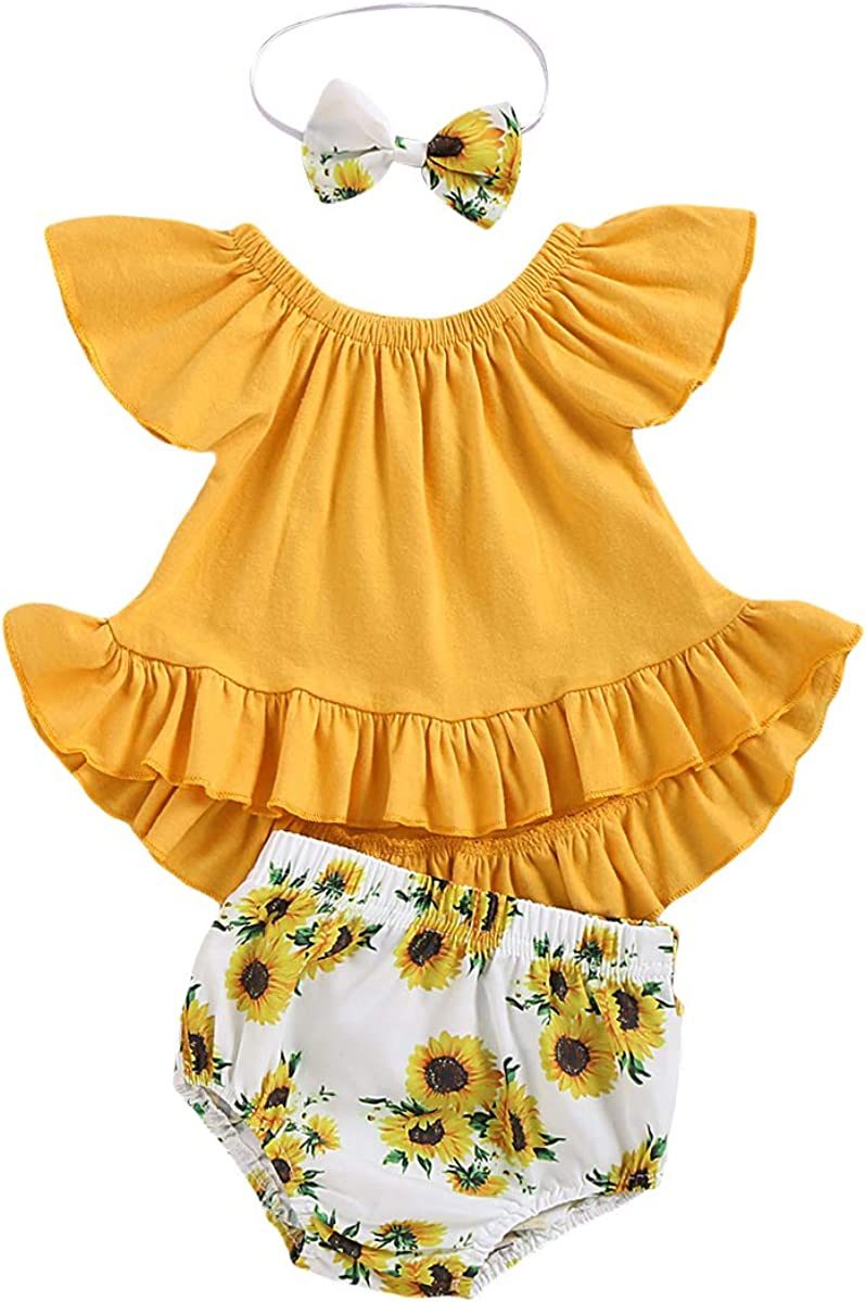 CARETOO 3Pcs Baby Girls Clothes Outfits Set, Girl Short Sleeve Top Sunflower Short Pants with Headband