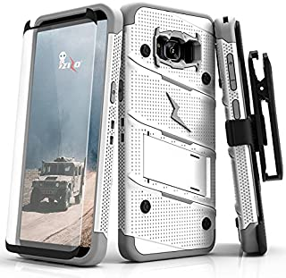 ZIZO Bolt Series Samsung Galaxy S8 Plus Case Military Grade Drop Tested with Tempered Glass Screen Protector Holster White Gray
